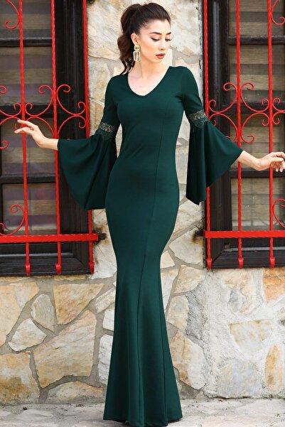 Nesrinden Kadın Kollar Volanlı Yeşil Balık Model Abiye