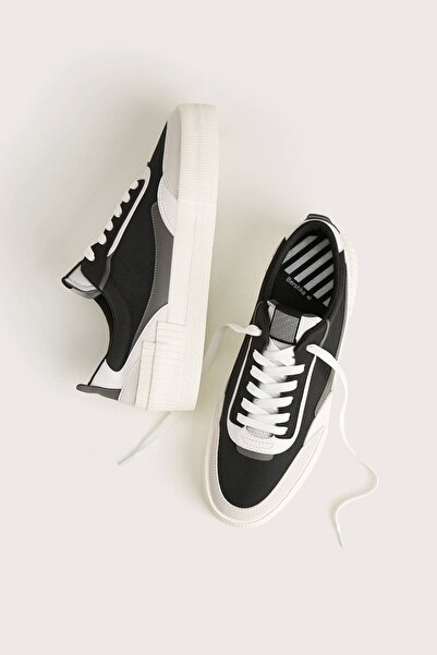 Bershka Erkek Siyah Kontrast Kumaş Spor Ayakkabı 12434560