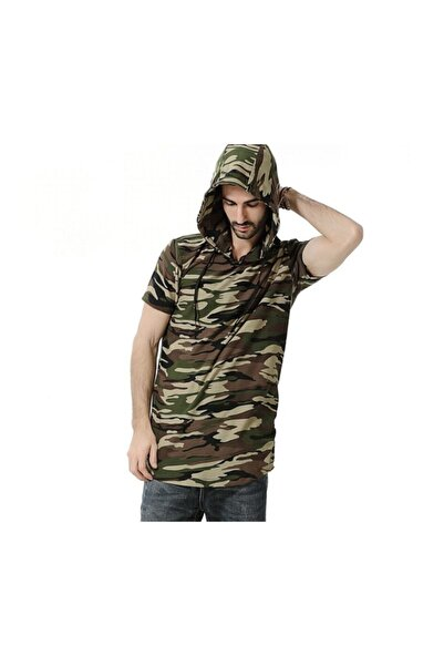 Köstebek Kamuflaj Kapşonlu Kollu Unisex T-shirt
