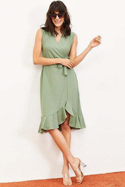 Bianco Lucci Kadın Fırfırlı Kruvaze Yaka Kolsuz Kuşaklı Elbise Mint 10061031