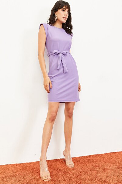 Bianco Lucci Kadın Vatkalı Kuşaklı Elbise Lila 10061032