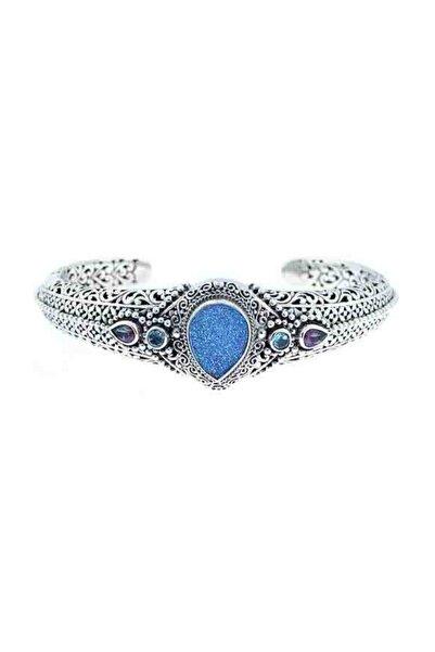 925 Ayar Gümüş Damla Mavi Ay Taşı Druzy Bilezik