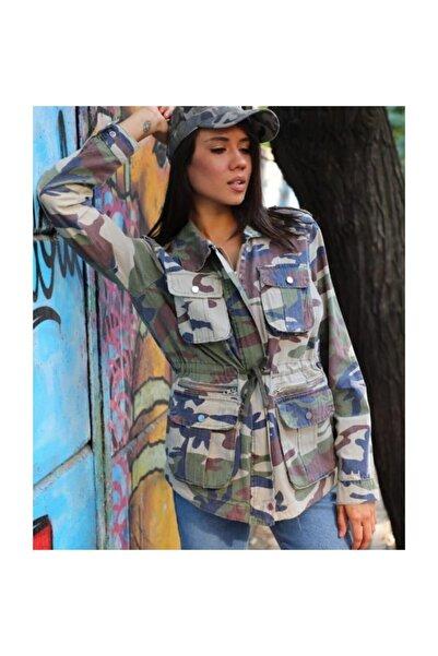 Hepsibitarz Kadın Kamuflaj Çok Cepli Bağlamalı Denim Kot Ceket