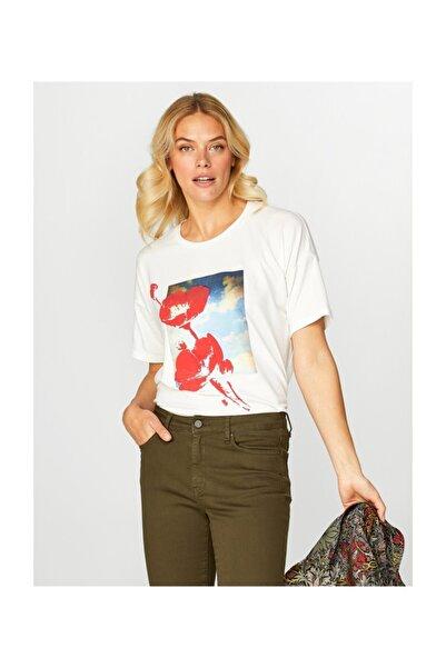 Faik Sönmez Kadın Ekru T-shirt 39642