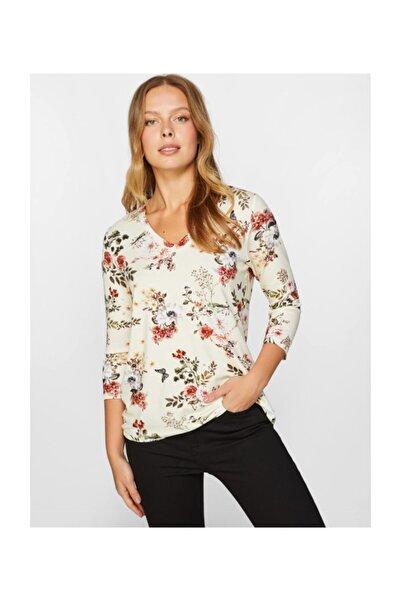 Faik Sönmez V Yaka Renkli Çiçek Desenli T-shirt 60762