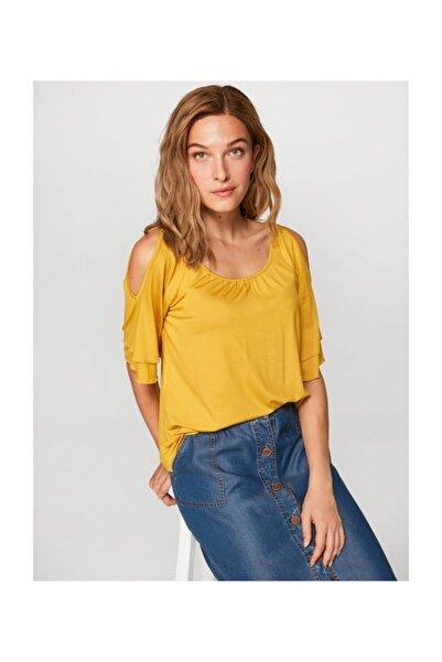 Faik Sönmez Kadın  Sarı Yuvarlak Yaka Omuz Dekolteli T-shirt 60024