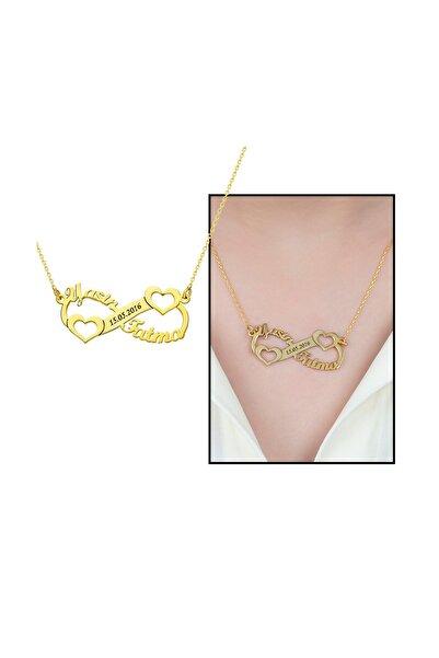 Tesbihane Kişiye Özel Isim/tarih Yazılı Gold Renk 925 Ayar Gümüş Sonsuzluk-kalp Kolye