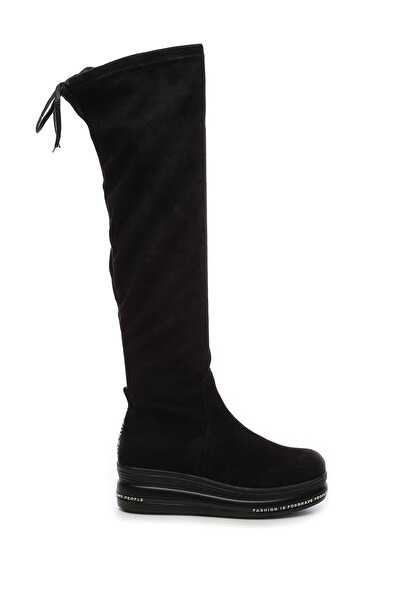 KEMAL TANCA Hakiki Deri Siyah Kadın Çizme Çizme 744 20480 C BN AYK SK19-20