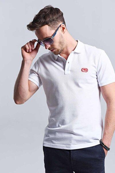 Beyaz Erkek Baskılı Polo Yaka T-Shirt POLO TEE
