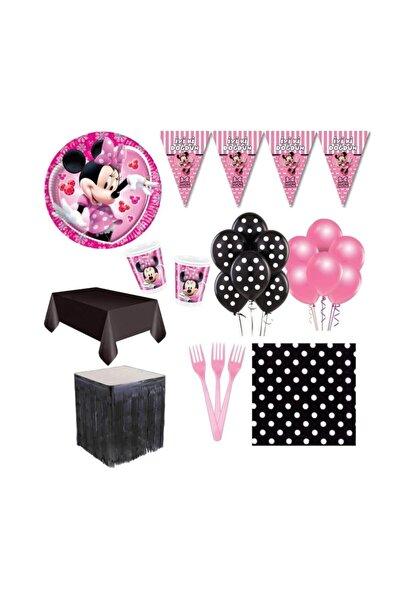 MINNIE Mouse Doğum Günü Parti Seti+Metalize Masa Eteği 16 Kişilik
