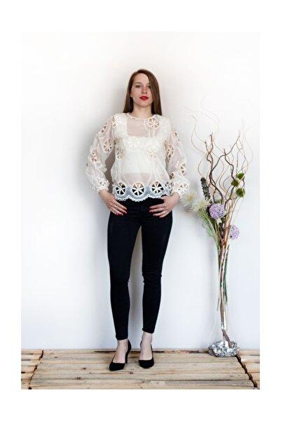 Prego Krem Çiçek Desenli Bluz