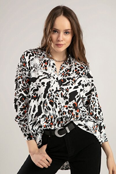 Kadın Siyah Beyaz Leopar Desenli Yarasa Kol Gömlek 30678 Y19W109-30678