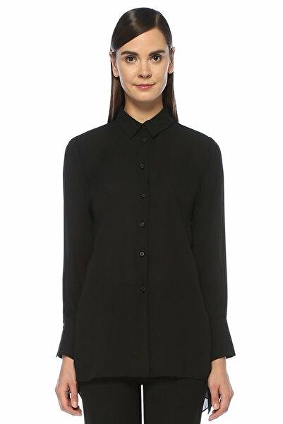 Siyah Şifon Garnili Mendil Formlu Krep Gömlek