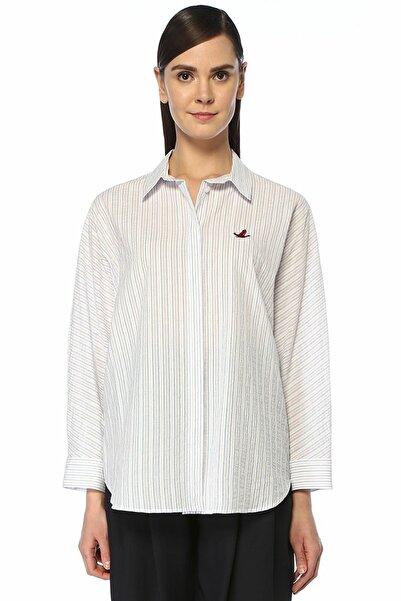 Mavi Beyaz Çizgili Yarasa Kol Gömlek