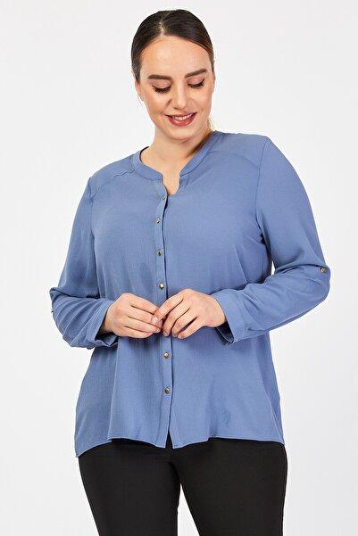 Büyük Beden Mavi Gömlek