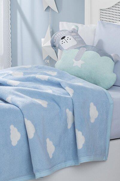 Mini Clouds Pamuklu Bebek Battaniye 100x120 cm. Mavi