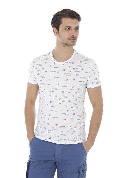 Lenasso Beyaz Baskılı Erkek T-shirt