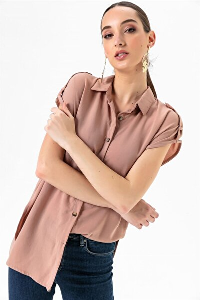 Kadın Düşük Kollu Apoletli Gömlek Bej