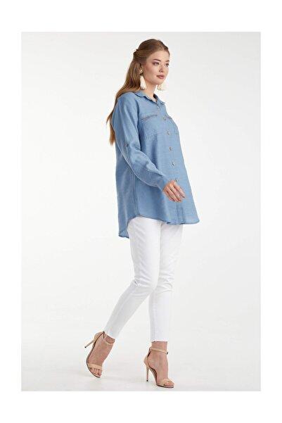 Sementa Büyük Beden Kadın Cep Detaylı Gömlek - Indigo