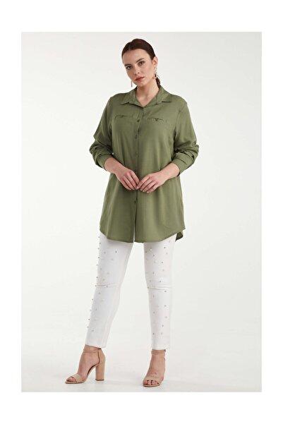Sementa Kadın Büyük Beden Cepli Gömlek - Yeşil
