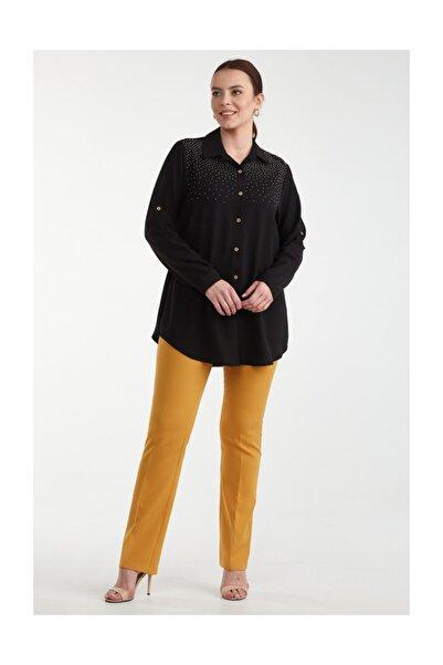 Sementa Kadın Taşlı Detaylı Büyük Beden Gömlek - Siyah