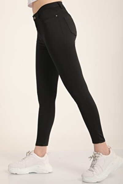Kadın Siyah Yüksek Bel Skinny Jean Pantolon Mdt4542