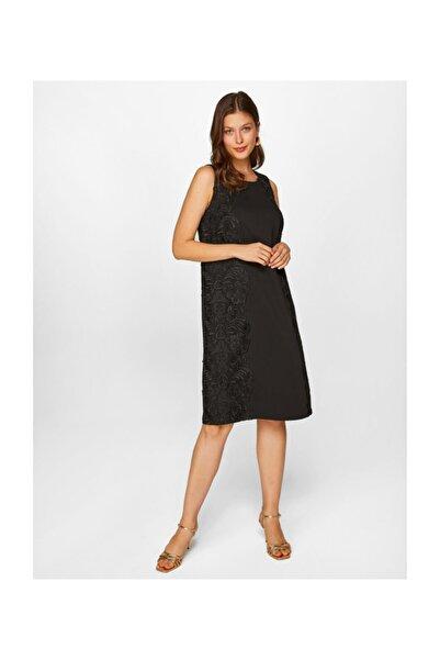 Faik Sönmez Kadın Siyah Dantel Detaylı Kolsuz Abiye Elbise 60101 U60101