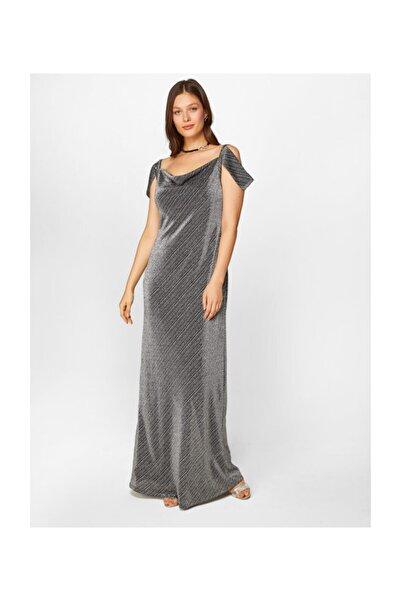 Faik Sönmez Kadın Gümüş Simli Maxi Abiye Elbise 60116 U60116