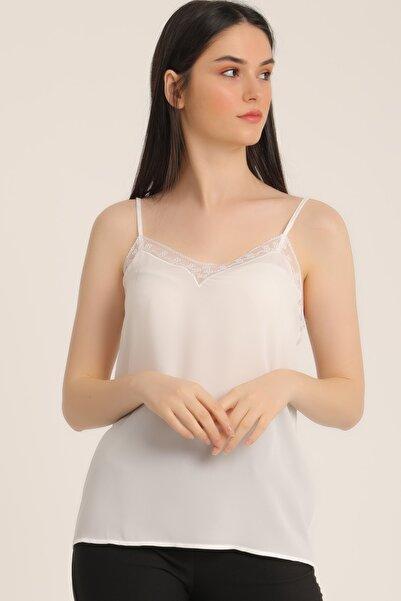 MD trend Kadın Ekru Dantelli Askılı Bluz Mdt5337