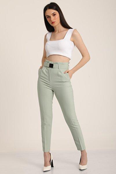 MD trend Kadın Mint Yeşil Yüksek Bel Palaska Kemerli Kumaş Pantolon Mdt5015