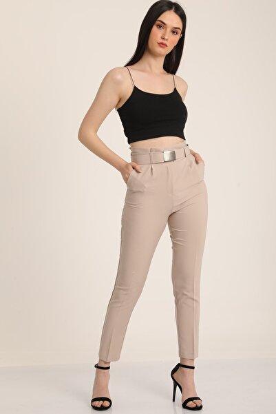 MD trend Kadın Vizon Yüksek Bel Palaska Kemerli Kumaş Pantolon Mdt5015