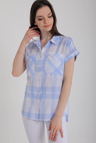 Kadın Bebe Mavi Ekose Kısa Kollu Cepli Uzun Gömlek Mdt5491
