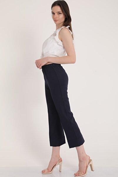 MD trend Kadın Lacivert Bel Lastikli Duble Paça Rahat Kumaş Pantolon Mdt5279