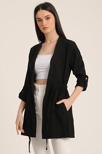 MD trend Kadın Siyah Bel Kemerli Cepli Blazer Ceket Mdt5365