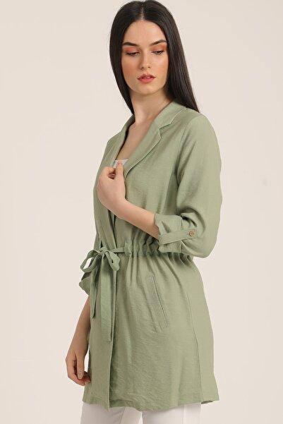 MD trend Kadın Mint Yeşil Bel Kemerli Cepli Blazer Ceket Mdt5365