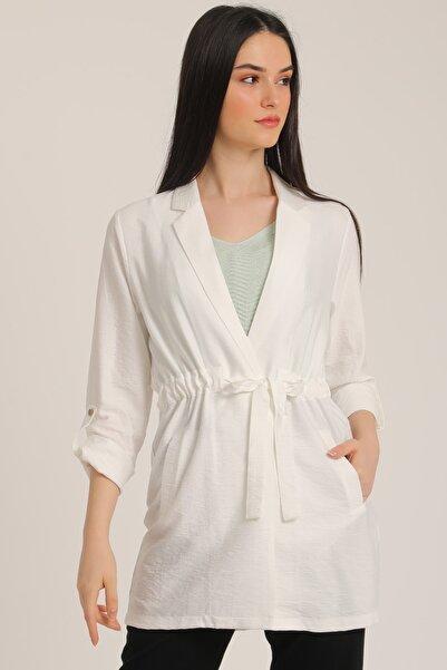 MD trend Kadın Ekru Bel Kemerli Cepli Blazer Ceket Mdt5365