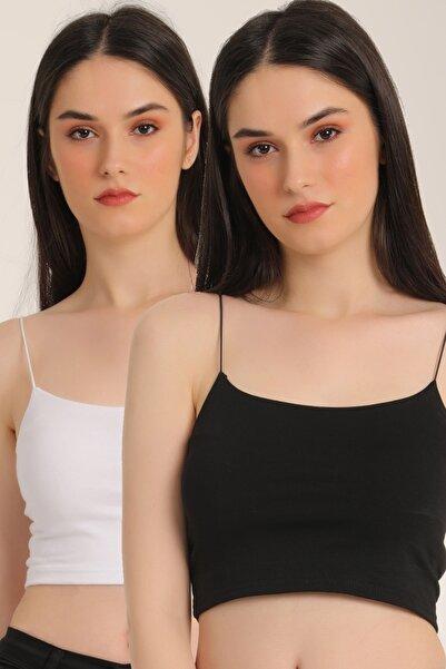 MD trend Kadın Siyah 2'Li Ip Siyah-Beyaz Askılı Pamuklu Bustiyer Mdt5157
