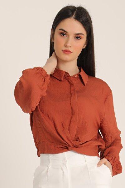 MD trend Kadın Taba Alt Büzgülü Bağlamalı Gömlek Mdt5072