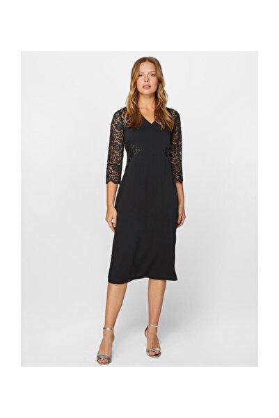 Faik Sönmez Kadın Siyah Dantel Detaylı Abiye Elbise 60102 U60102