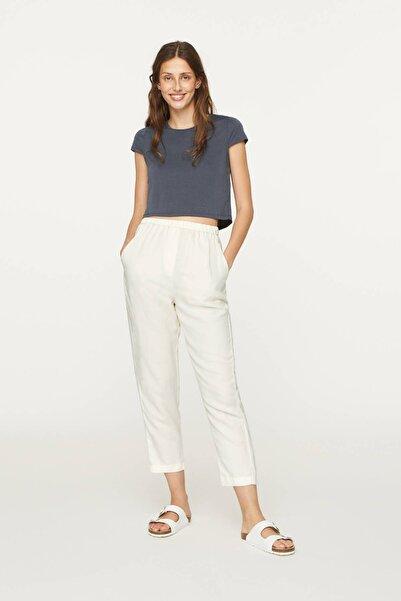 Kadın Gri Modal Crop Tişört