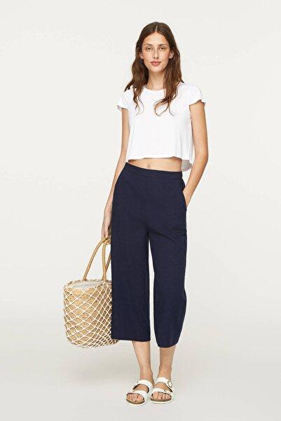 Kadın Beyaz Modal Crop Tişört