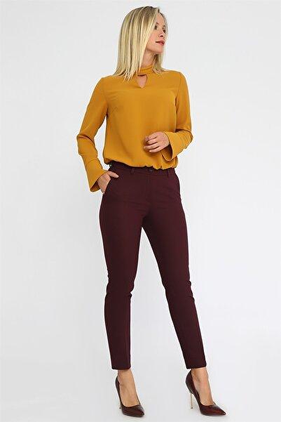 Chima Kadın Mürdüm Paçası Yırtmaçlı Pantolon K20PA070