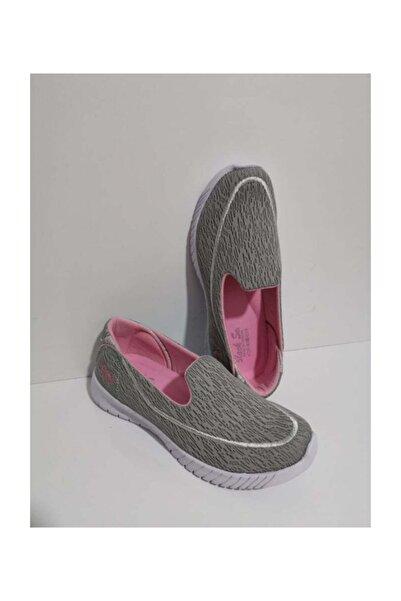 GEZER Ortopedik Aqua Babet Günlük Kadın Spor Ayakkabı Sneaker Fileli Gri Pembe 109