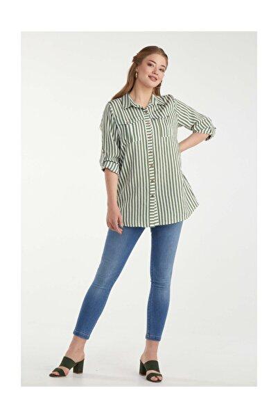 Sementa Kadın Çizgili Battal Gömlek - Yeşil