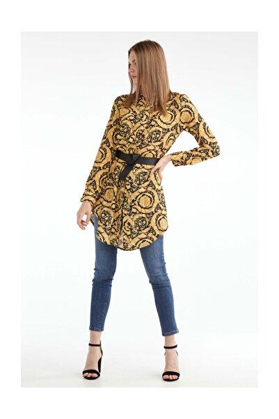 Sementa Kadın Rahat Kesim Desenli Uzun Gömlek - Siyah