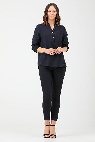 Sementa Hakim Yaka Patlı Kadın Gömlek - Siyah