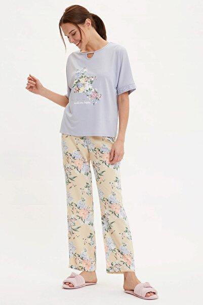 DeFacto Kadın Sarı Çiçek Desenli Dokuma Pijama Takımı R2760AZ.20SM.YL155