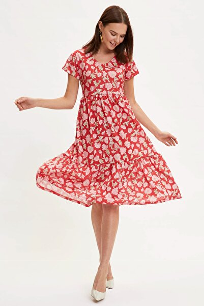 Kadın Kırmızı Çiçek Desenli Örme Elbise N9770AZ.20SM.RD31