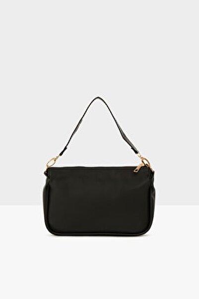 Siyah Kadın Saten Fitilli Baget Çanta M000004464