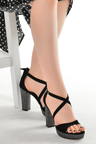 Ayakland Simli Abiye 11 cm Platform Topuk Sandalet Ayakkabı 3210-2068